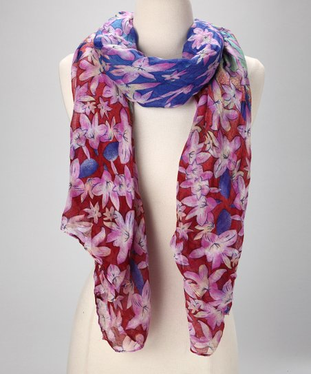 Purple & Red Floral Scarf