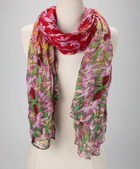 Red &amp; Green Floral Scarf