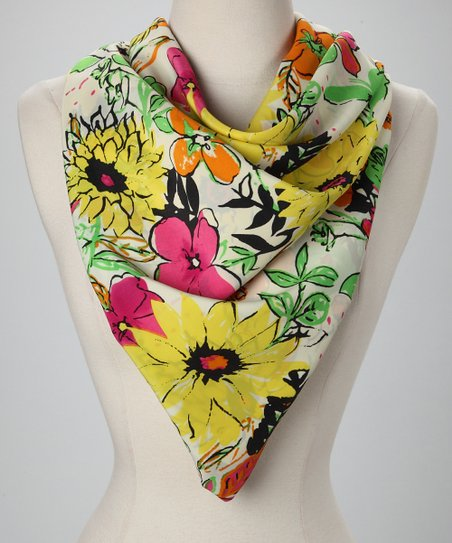 Yellow & Green Bright Floral Scarf
