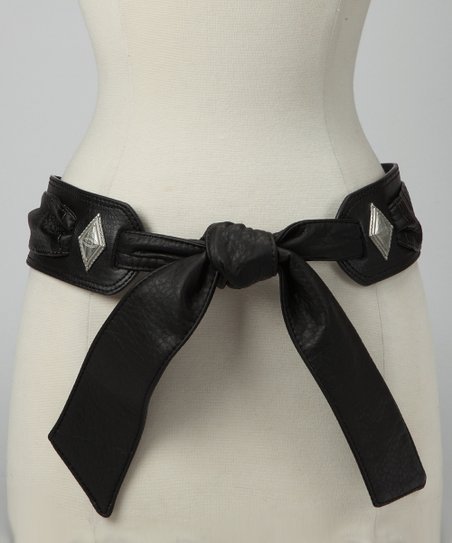 Black Embellished Tie Belt