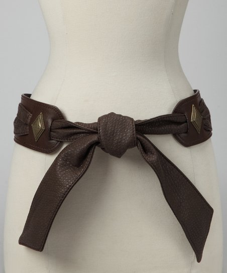 Brown Embellished Tie Belt