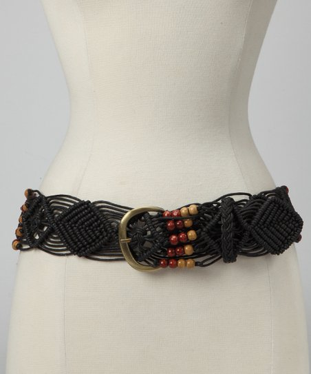 Black Beaded Macramé Cord Belt