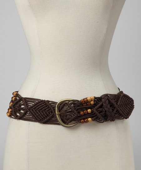 Brown Beaded Macramé Cord Belt