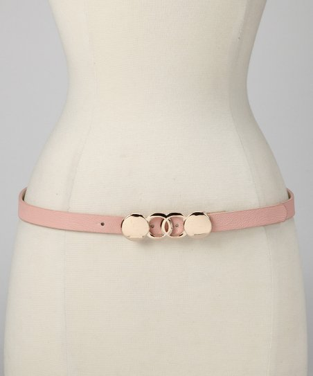 Pale Pink Geometric Buckle Belt