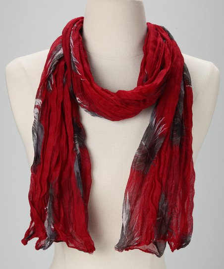 Red Feather Crinkle Scarf