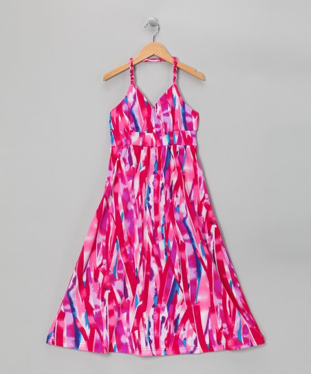 Pink Triangle Halter Maxi Dress - Girls