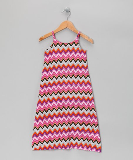 Pink Zigzag Maxi Dress - Girls
