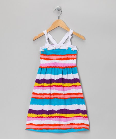 Blue Wavy Stripe Dress - Toddler & Girls