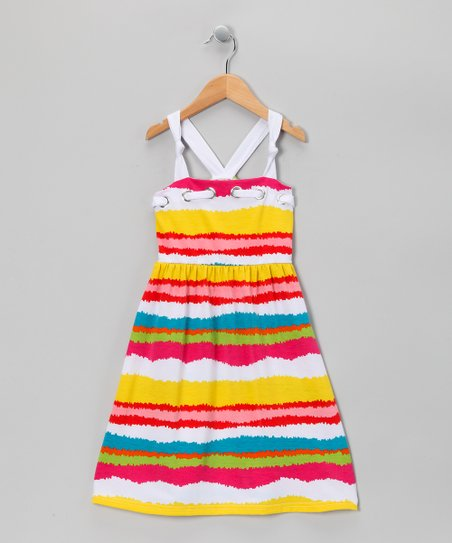 Yellow Wavy Stripe Dress - Toddler & Girls