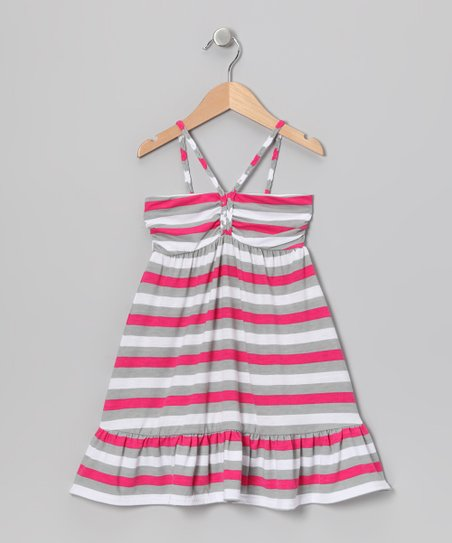 Pink & Gray Stripe Ruffle Dress - Girls