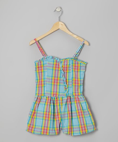 Blue Plaid Bubble Romper - Girls