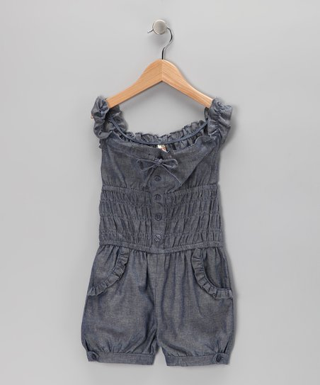 Blue Chambray Romper - Girls