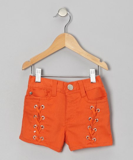 Orange Zinnia Lace-Up Shorts - Girls