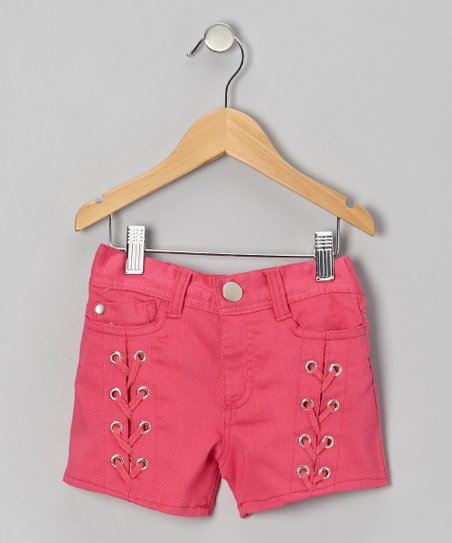 Pink Pulse Lace-Up Shorts - Girls