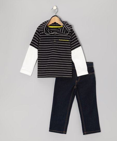 Navy Stripe Layered Hooded Tee & Jeans - Toddler