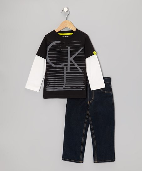 Black Layered Tee & Jeans - Infant