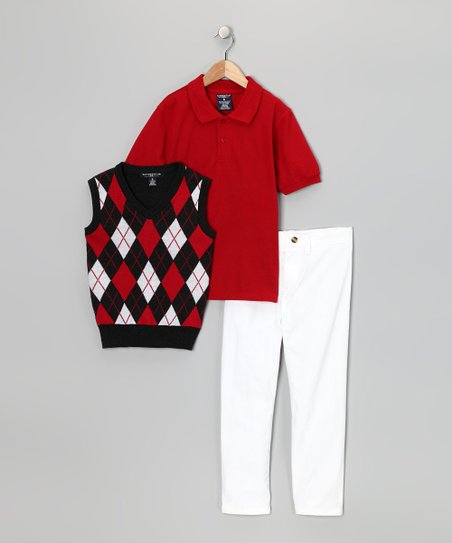 Red & White Argyle Polo Set - Toddler & Boys