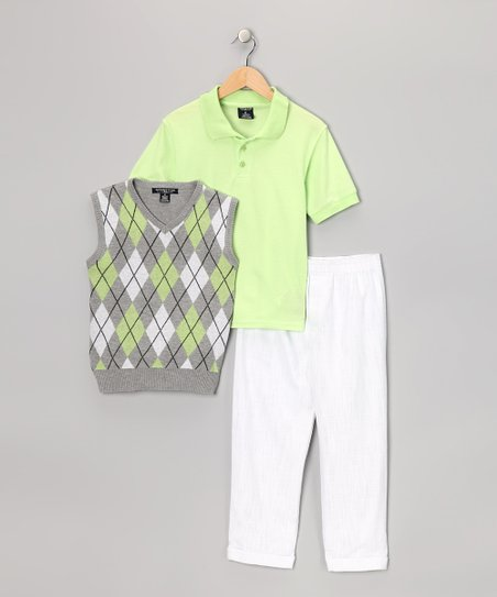 Lime &amp; White Argyle Vest Set - Boys