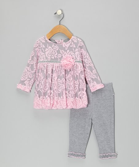 Pink & Gray Rose Dress & Leggings - Infant