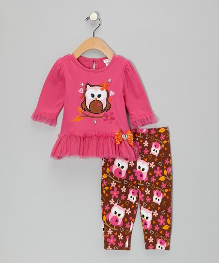 Pink Owl Dress & Leggings - Infant, Toddler & Girls