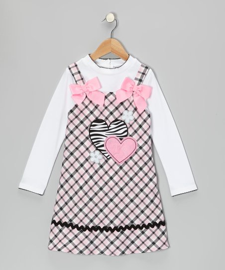 White Tee & Pink Heart Plaid Dress - Toddler & Girls