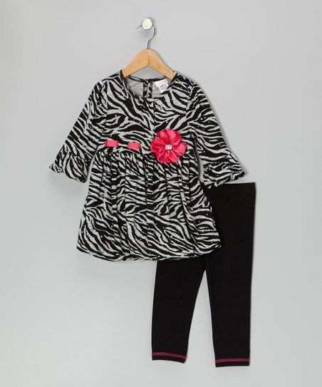 Black Sparkle Zebra Daisy Tunic & Leggings - Toddler & Girls