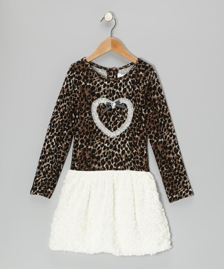 Brown & Cream Leopard Heart Dress - Girls