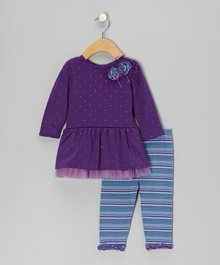Purple Rosette Dress & Stripe Leggings - Infant