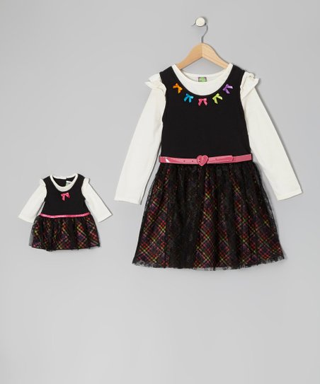 Black Plaid Layered Dress & Doll Outfit - Girls