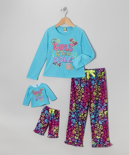 Turquoise 'Girls & Their Dolls' Pajama Set & Doll Outfit - Girls