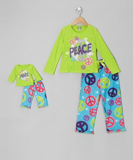Lime & Blue 'Peace' Pajama Set & Doll Outfit - Girls