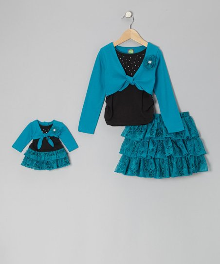 Black & Teal Layered Top Set & Doll Outfit - Girls