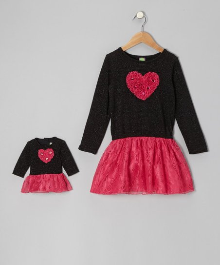 Black & Pink Heart Dress & Doll Dress - Girls