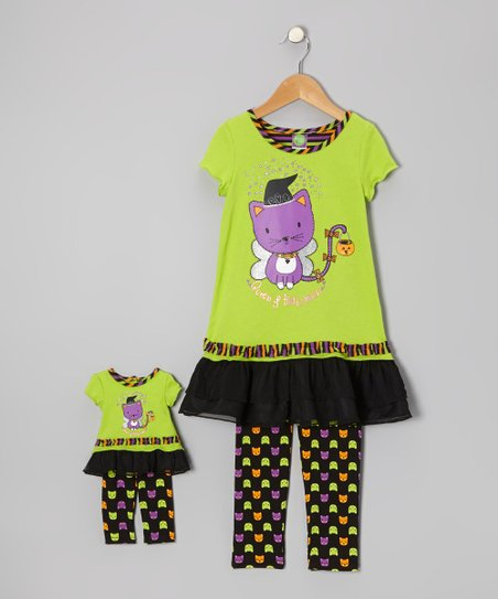 Green Cat Ruffle Tunic Set & Doll Outfit - Girls