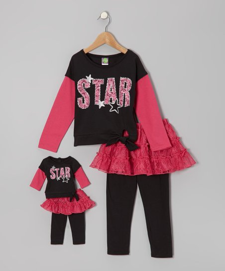 Black & Pink 'Star' Tee Set & Doll Outfit - Girls