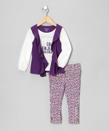 Purple Layered Top & Leggings - Infant, Toddler & Girls