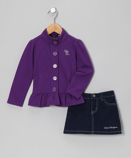 Purple Ruffle Jacket & Denim Skirt - Infant, Toddler & Girls