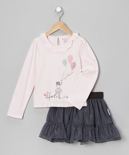 Pink Balloon Top & Gray Glitter Skirt - Infant, Toddler & Girls