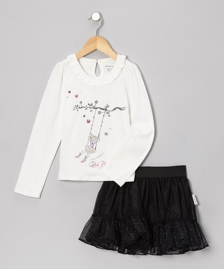 White Swing Top & Black Glitter Skirt - Toddler & Girls