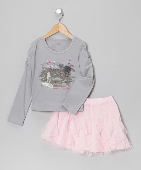 Gray Butterfly Tee & Pink Ruffle Skirt - Toddler