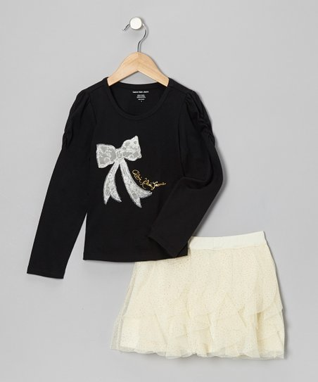 Black Bow Tee & Cream Ruffle Skirt - Toddler & Girls