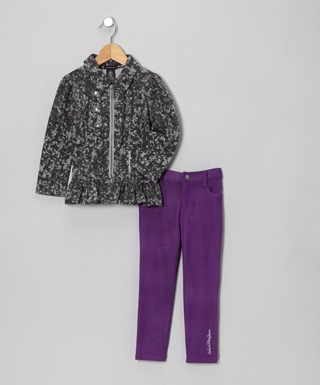 Gray Acid Wash Jacket & Purple Jeggings - Infant, Toddler & Girls