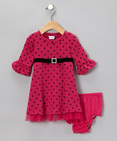 Pink & Black Polka Dot Dress & Diaper Cover - Infant