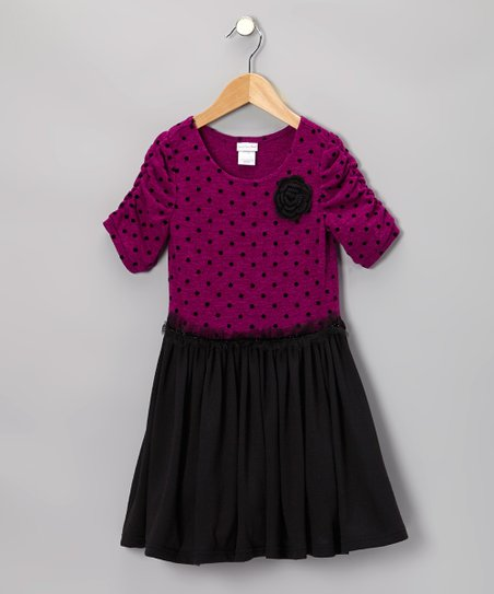 Fuchsia Polka Dot Knit Dress - Toddler & Girls