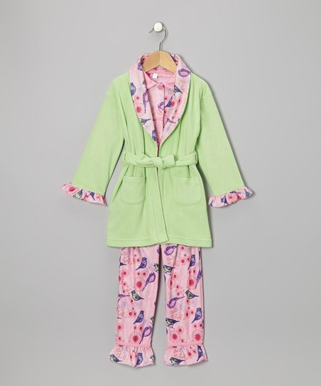 Paradise Green Bird Watcher Bathrobe Set - Toddler & Girls