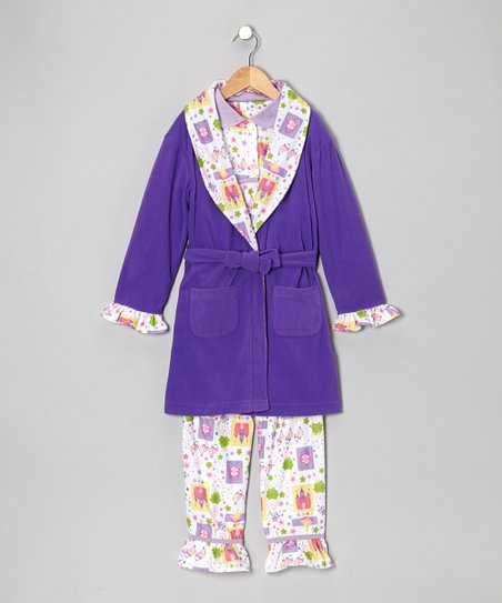 Lavender Frog Princess Bathrobe Set - Infant, Toddler & Girls