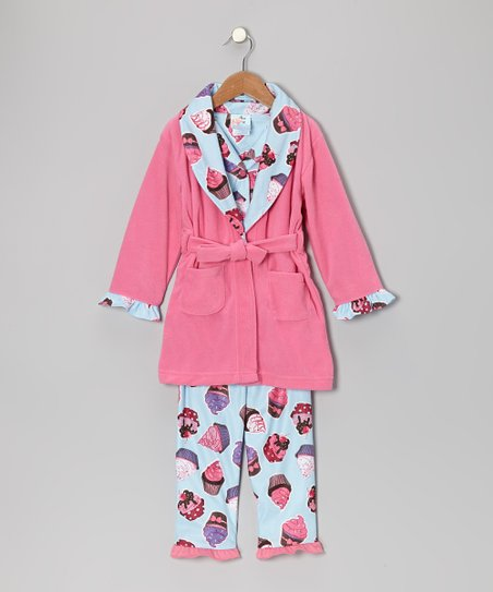 Aurora Pink Hello Cupcake Bathrobe Set - Infant & Toddler