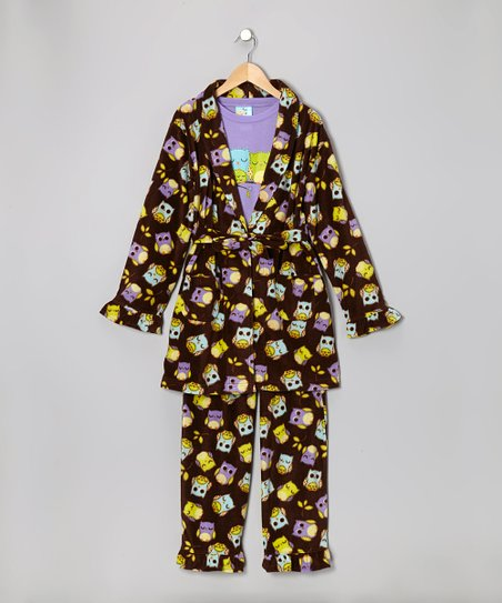 Brown Passion Sleepy Owl Bathrobe Set - Infant, Toddler & Girls