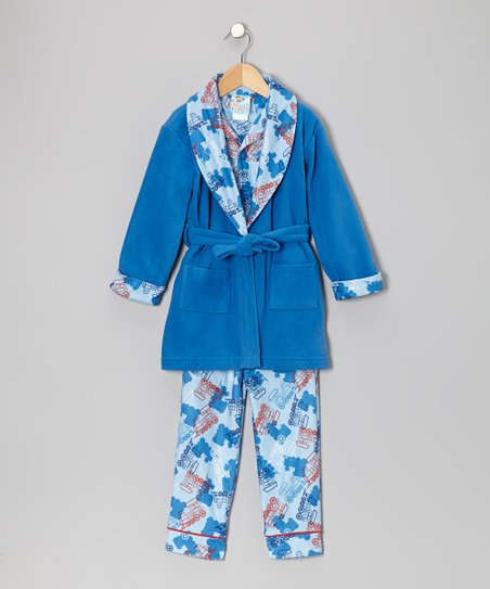 School Blue Choo-Choo Train Bathrobe Set - Toddler & Boys