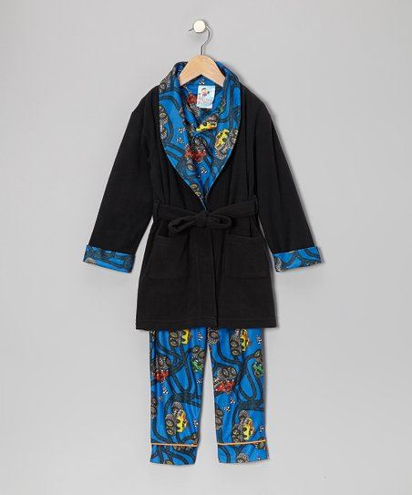 Capri Blue Monster Trucker Bathrobe Set - Infant & Toddler